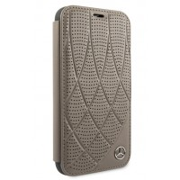 Mercedes Benz Perforated Quilted Ledertasche iPhone 11 Pro Max Braun MEFLBKN65DIQBR