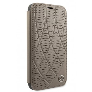 Mercedes Benz Perforated Quilted Ledertasche iPhone 11 Pro Braun MEFLBKN58DIQBR