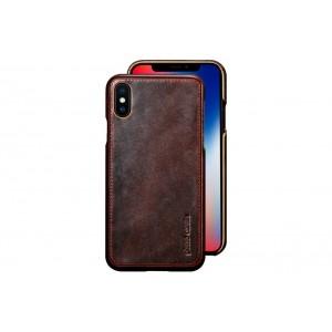 Pierre Cardin Case / Hülle für iPhone XS / X Dunkel Braun Echtleder