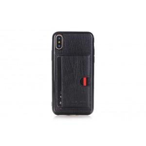 Pierre Cardin Card Case / Hülle für iPhone XS / X Schwarz TPU / Echtleder