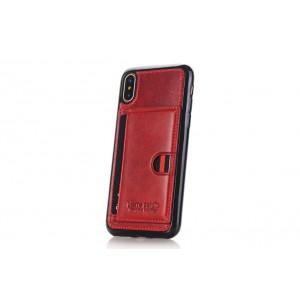 Pierre Cardin Card Case / Hülle für iPhone XS / X Rot TPU / Echtleder