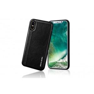 Pierre Cardin Case / Hülle für iPhone XS / X Schwarz Echtleder