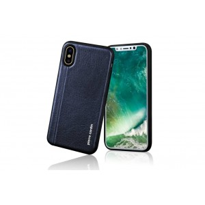 Pierre Cardin Case / Hülle für iPhone XS / X Sapphire Blau Echtleder