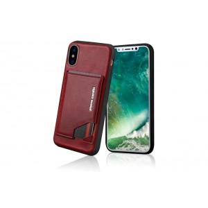 Pierre Cardin Card Case / Hülle für iPhone XS / X Rot Echtleder