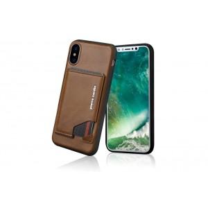 Pierre Cardin Card Case / Hülle für iPhone XS / X Braun Echtleder