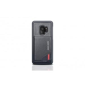 Pierre Cardin Card silikon Case / Hülle für Samsung Galaxy S9 Schwarz Echtleder