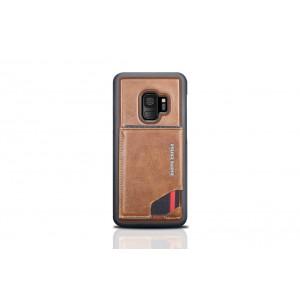 Pierre Cardin Card silikon Case / Hülle für Samsung Galaxy S9 Braun Echtleder