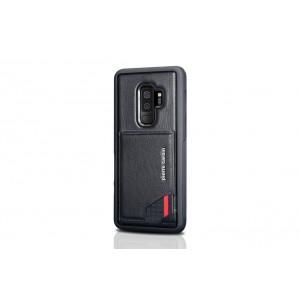 Pierre Cardin Card silikon Case / Hülle für Samsung Galaxy S9+ Plus Schwarz Echtleder