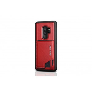 Pierre Cardin Card silikon Case / Hülle für Samsung Galaxy S9+ Plus Rot Echtleder