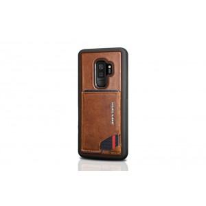 Pierre Cardin Card silikon Case / Hülle für Samsung Galaxy S9+ Plus Braun Echtleder