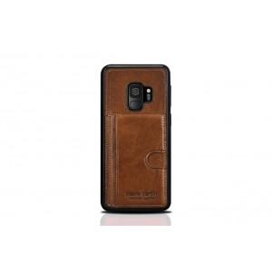 Pierre Cardin Card Case / Hülle für Samsung Galaxy S9 Braun Echtleder