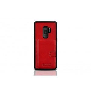 Pierre Cardin Card Case / Hülle für Samsung Galaxy S9+ Plus Rot Echtleder