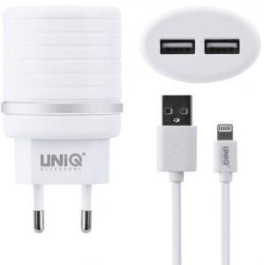 UNIQ Dual Port Lightning Schnell Ladegerät / Netzteil 10 Watt / 2.4A Weiß