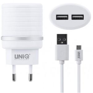 UNIQ Dual Port Micro USB Schnell Ladegerät / Netzteil 10 Watt / 2.4A Weiß