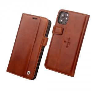 Pierre Cardin Ledertasche iPhone 11 Braun echtes Leder