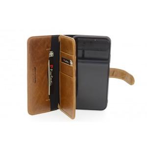 Deluxe Pierre Cardin Ledertasche iPhone 11 Echtleder Braun