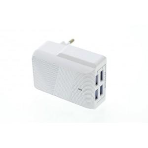 Moxom Ladeadapter USB 4,4A 4-Port Multiadapter mit Auto-ID weiß