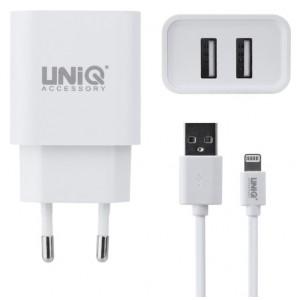 UNIQ USB Type Lightning Schnell Ladegerät / Netzteil 10 Watt / 2.4A Weiß