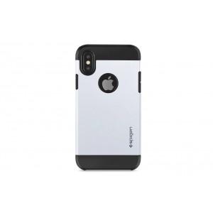SPIGEN Slim Hybrid Hülle / Backcover für iPhone XS / X Silber