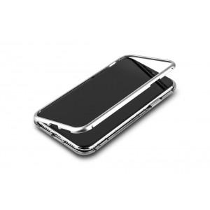 Magnet Hülle für iPhone XR Silber