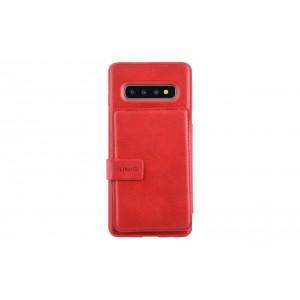 UNIQ Flip Style 3 Karten Fach Hülle / Cover für Samsung Galaxy S10+ Plus Rot