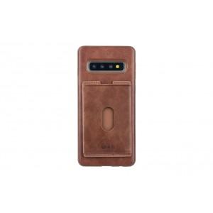 UNIQ Slid Style Karten Fach Hülle / Cover für Samsung Galaxy S10+ Plus Braun