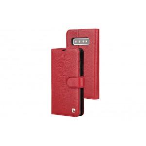 Pierre Cardin Classic Echtleder Tasche Samsung Galaxy S10+ Plus Rot
