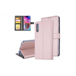 Tasche für Samsung Galaxy A70 Aufstellfunktion + Kartenfach Rose Gold