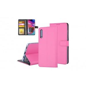 Tasche für Samsung Galaxy A70 Aufstellfunktion + Kartenfach Pink