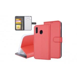Tasche für Samsung Galaxy A20 Aufstellfunktion + Kartenfach Rot