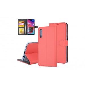 Tasche für Samsung Galaxy A70 Aufstellfunktion + Kartenfach Rot