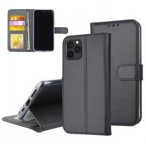Schwarze Ledertasche für iPhone 11 Pro Max mit Aufstellfunktion + Kartenfach
