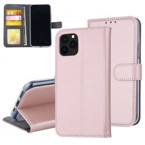Rose Goldene Ledertasche für iPhone 11 Pro Max mit Aufstellfunktion + Kartenfach