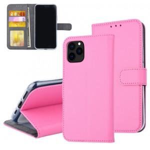 Pinke Ledertasche für iPhone 11 Pro Max mit Aufstellfunktion + Kartenfach