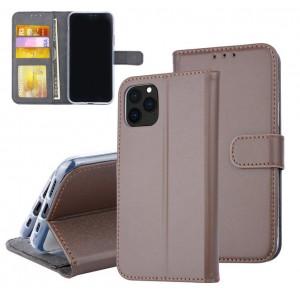 Braune Ledertasche für iPhone 11 Pro Max mit Aufstellfunktion + Kartenfach