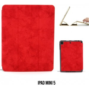 Ledertasche / Schutzhülle SlimFit iPad Mini 5 mit Standfunktion Marmor Rot