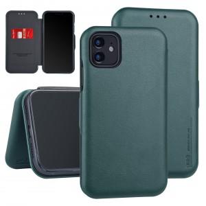 UNIQ Slim Ledertasche iPhone 11 Pro Max Aufstellfunktion + Kartenfach Grün