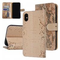 UNIQ 3D Snake Handytasche iPhone X / Xs Schlangenmuster Braun / Gold
