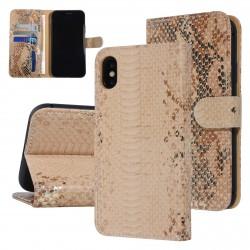 UNIQ 3D Snake Handytasche iPhone XR Schlangenmuster Braun / Gold