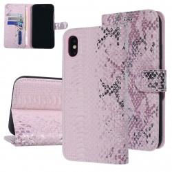UNIQ 3D Snake Handytasche iPhone XS Max Schlangenmuster Rose / Pink