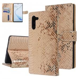 UNIQ 3D Snake Handytasche Samsung Galaxy Note 10 Schlangenmuster Braun / Gold