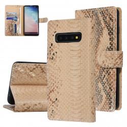UNIQ 3D Snake Handytasche Samsung Galaxy S10 Schlangenmuster Braun / Gold