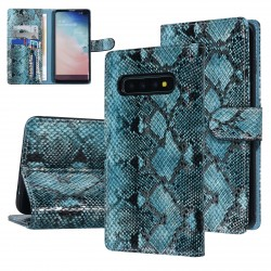 UNIQ 3D Snake Handytasche Samsung Galaxy S10 Schlangenmuster Grün / Schwarz