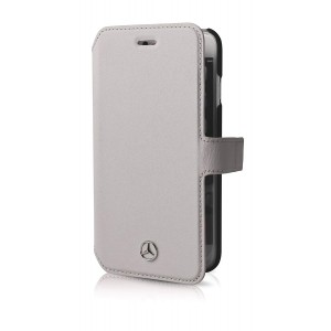 Mercedes Benz Pure Line Ledertasche für iPhone 6 Plus / 6S Plus Grau