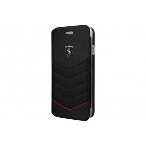 Ferrari Quilted Ledertasche / Book Case für iPhone 8 / 7 Schwarz