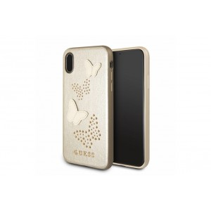 Guess Studs and Sparkles Hülle / Hardcover für iPhone X / Xs Beige