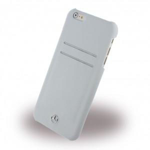 Mercedes Benz Reine Linie Lederhülle mit Kartenslots für iPhone 6 Plus / 6S Plus Grau