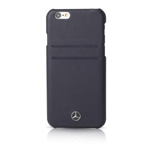 Mercedes Benz Reine Linie Lederhülle mit Kartenslots für iPhone 6 Plus / 6S Plus Navy