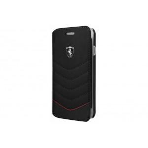 Ferrari Quilted Ledertasche / Book Case für iPhone 8 Plus / 7 Plus Schwarz