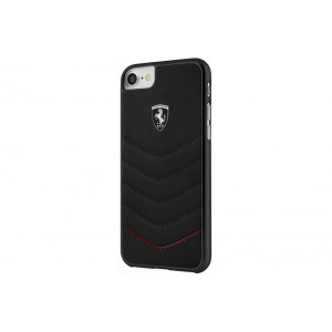 Ferrari Quilted Leder Cover für iPhone 8 Plus / 7 Plus Schwarz